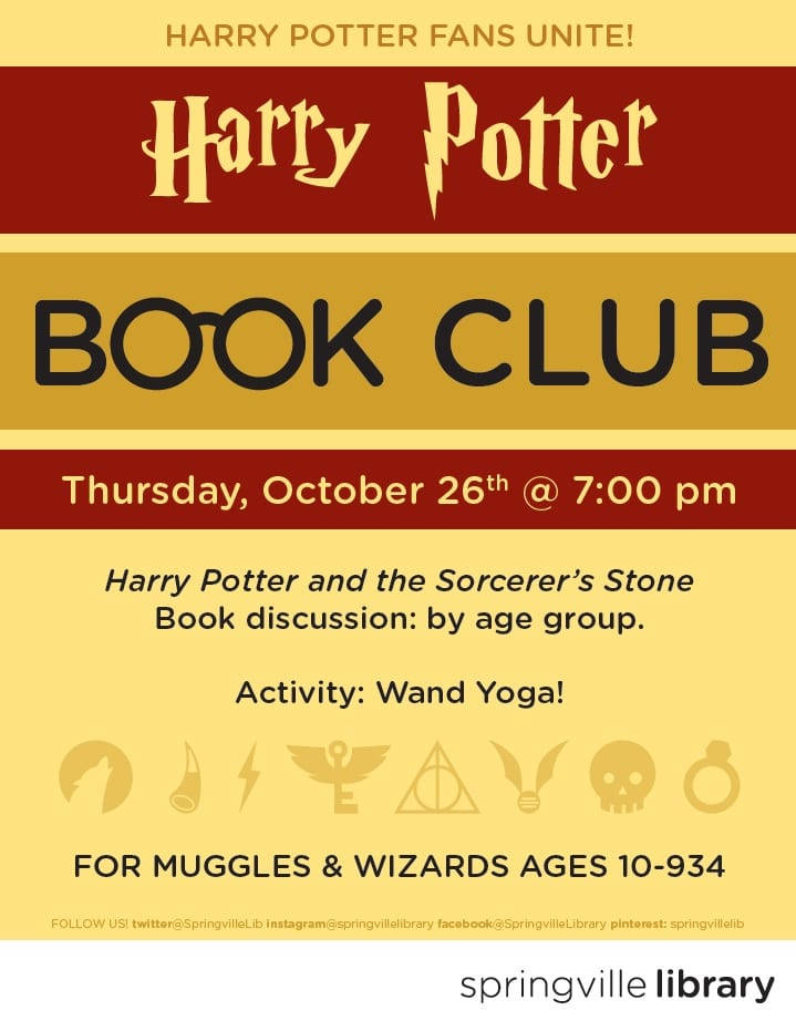 Harry Potter Book Club : Harry potter book club springville library