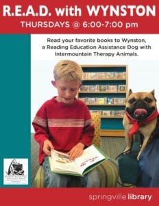 R.E.A.D with Wynston @ Springville Library | Springville | Utah | United States