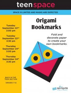 Teen Space: Origami Bookmarks