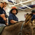 A friendly rivalry now exists between the officers and the firefighters in Donkey Basketball!
