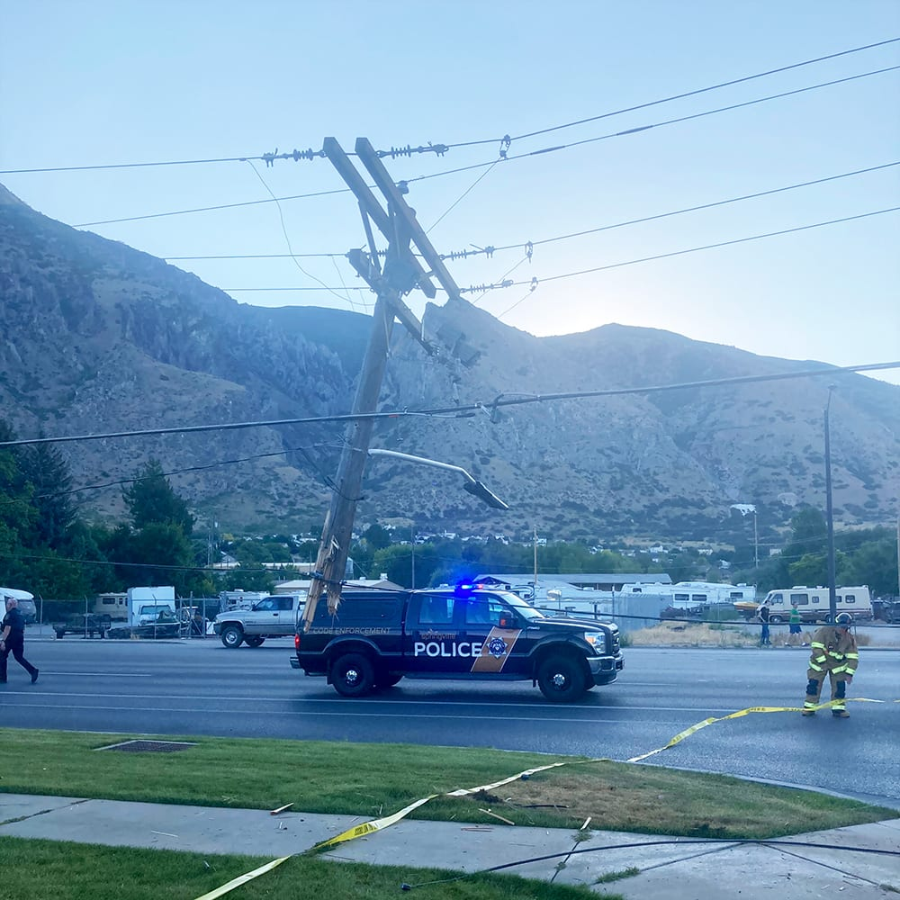 Vehicle hit power pole