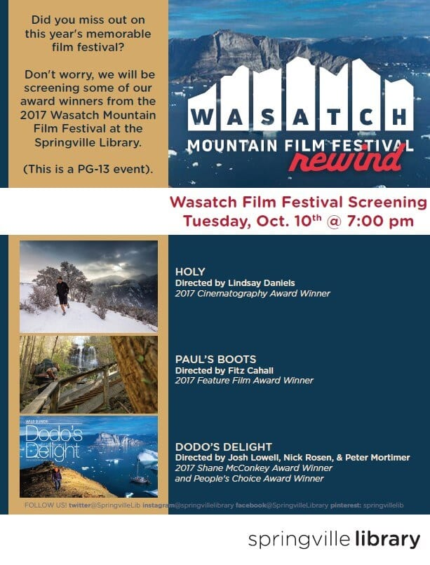 Wasatch Mountain Film Festival Screening @ Springville Public Library | Springville | Utah | United States