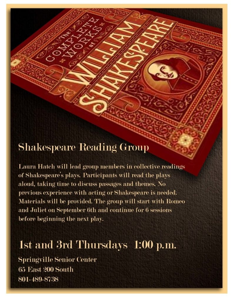 Shakespeare Reading Group @ Springville Senior Center | Springville | Utah | United States