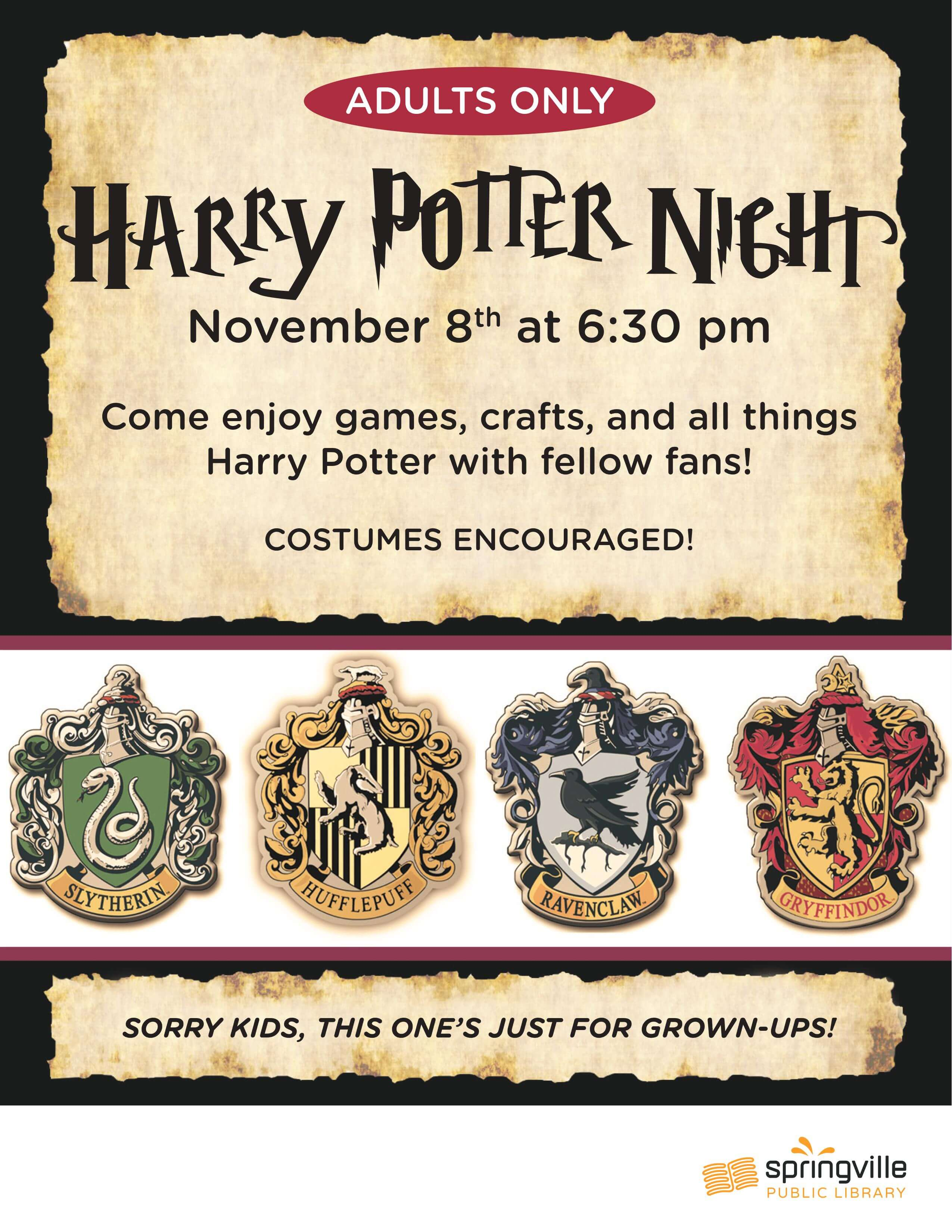 Adult Harry Potter Night @ Springville Public Library | Springville | Utah | United States