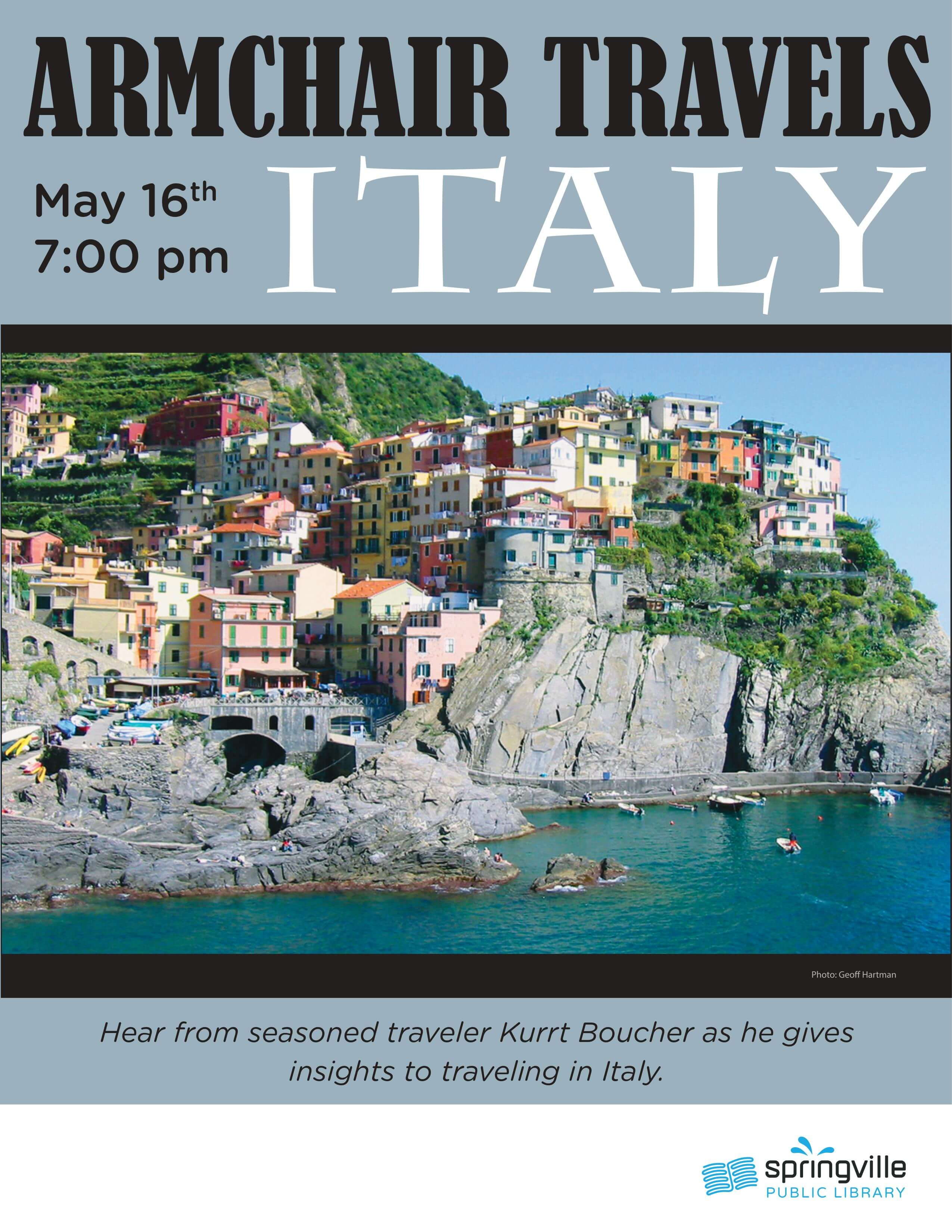 Armchair Travels: Italy @ Springville Public Library