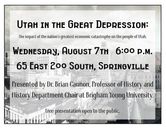 Utah in the Great Depression @ Springville Senior Center